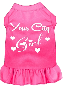 Custom City Girl Screen Print Souvenir Dog Dress Bright Pink Lg